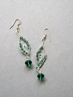 Handmade wire wrapped earrings, Green Dangles, handmade jewelry via Etsy