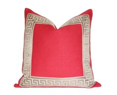Coral pillow with Greek Key Border