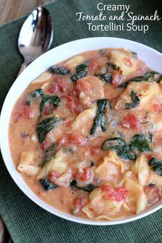 Creamy Tomato and Spinach Tortellini Soup