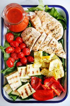 Lexi's Clean Kitchen | Grilled Chicken and Vegetables with Tomato Vinaigrette
