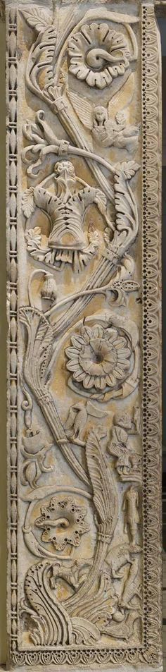 Detail, Marble Doorway from the Abbey Church of San Nicolò, Sangemini, Italy, carved in the 1000s, assembled in 1100s or 1200s, province of Terni , Umbria