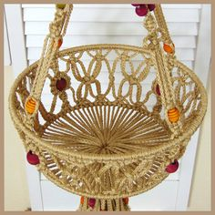 Double Fruit Basket Hanging Macrame Two Tier Kitchen