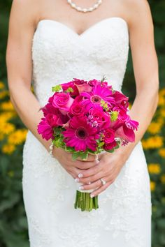 Again, a little bit of lime with the hot pink wedding bouquet. I also like it that this one isn't so perfectly formed. It looks more natural like this.