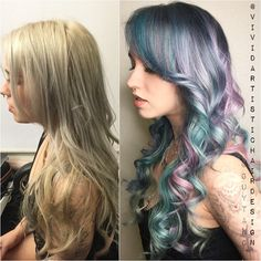 Hair designer`s IG: vividartistichairdesign   SAID > IG: cocolloydmusic got a color overhaul today!! I wanted to create smokey/muted pastel tones…to give her soft dimension and lots of shine. Nailed...