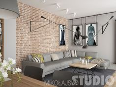 Salon w stylu loftowym #loft #styl industrialny #wnętrza Living Room Design Small Spaces, Small Living Rooms, Interior Design Living Room, Brick Interior Wall, Home Living Room, Ny Apartment Decor, Home Decor Kitchen, Interior Design, House Interior