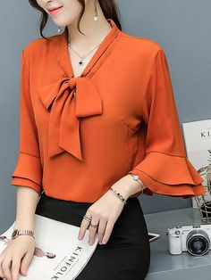 Buy Tie Collar Bowknot Plain Bell Sleeve Blouse online with cheap prices and discover fashion Blouses at Office Fashion, Business Fashion, Trendy Fashion, Womens Fashion, Blouse Styles, Blouse Designs, Hijab Fashion, Fashion Outfits, Fashion Blouses
