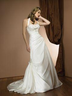Taffeta halter Neckline Delicately Pleated Bodice A-line Wedding Dress - Wedding Dresses UK Online Shop