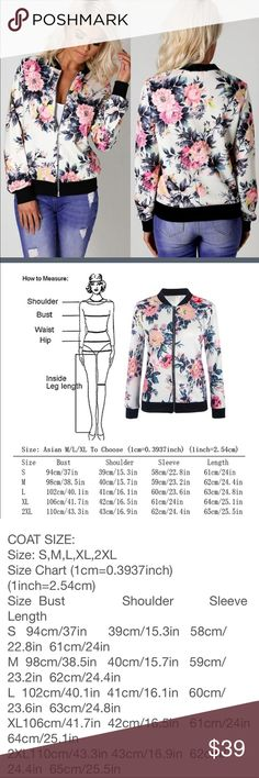 🆕 Silky Lightweight flower bomber jacket So beautiful and soft I'm keeping my size! Please measurements for best fit! Meant to be loose! I normally wear med/large and the large fits me perfectly! Already got tons of compliments when I wore mine with ripped white jeans, converse high tops and lace up top! These won't last‼️ Jackets & Coats
