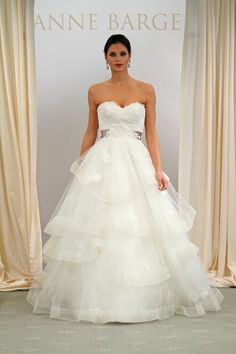 #612 by Anne Barge - Love this lace and horsehair wedding dress!