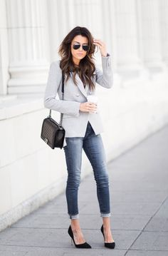 Grey Blazer, Skinny Jeans, Heels and a Chanel Boy Bag