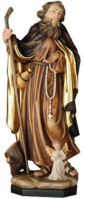 Male Saints - St. Elias with angel religious gift, religious figurine sculpture, statue, Val Gardena tradition of woodcarving, wood carving, high quality handmade statues