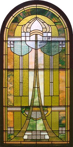 """Art Nouveau Combination Glass - Combination Glass refers to windows that combine elements of stained glass, beveled glass, and jewels. Generally, the windows included in our """"combination"""" galleries have all three elements. Some collectors feel that Combinations represent the most outstanding examples within any period, and many collect only combination windows."""
