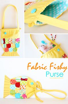 How to Make Fabric Fishy Purse - Sew - Handimania Sewing Projects For Kids, Sewing For Kids, Craft Projects, Fabric Crafts, Sewing Crafts, Diy Clutch, Diy Purse, Diy And Crafts, Crafts For Kids