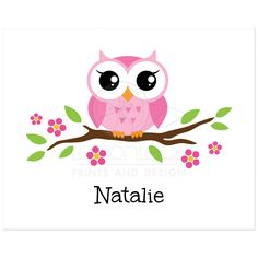 Cute nursery wall art poster print for kids with a cute, pink cartoon owl sitting on a floral branch - would also be cute behind the dessert table!