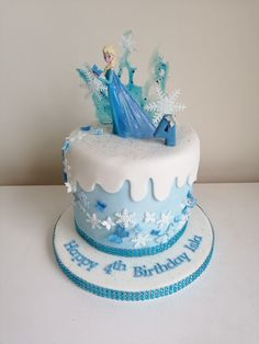Disney's Frozen themed cake, Elsa, frozen fractals Elsa Frozen, Disney Frozen, Frozen Cake, Baby Gender, Themed Cakes, Fractals, The Hamptons, Desserts, Food