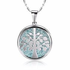 This stainless steel Tree Of Life Pendant Necklace Is Unique And Is Carefully Constructed Of High-quality, Lead-free Rhodium Plated Alloy. It Is A Ideal Gift For Your Best Friend, Significant Other, Or Anyone Who Enjoys Handmade Fine Jewelry. Wish Gifts, Tree Of Life Pendant, Blue And Silver, Fashion Necklace, Gifts For Friends, Fine Jewelry, Stainless Steel, Pendants, Pendant Necklace
