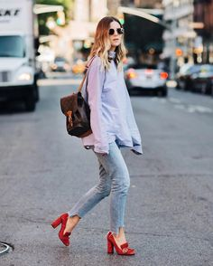 Get this look: http://lb.nu/look/8411419  More looks by Michelle Madsen: http://lb.nu/takeaim  Items in this look:  Gucci Suede Pump, Citizens Of Humanity Liya Hi Lo Jeans, Louis Vuitton Monogram Bosphore Backpack   #casual #street #nyfw #nyc