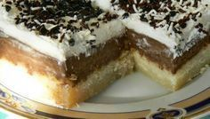 Ekmek Kadaifi with Chocolate Custard - but would like it better if the kadaifi on bottom base is not so packed together and have it more like a traditional kadaifi dessert - Where Home Starts Greek Sweets, Greek Desserts, Summer Desserts, Greek Recipes, Healthy Desserts, Dessert Recipes, Lunch Recipes, Meals Without Meat, Rhubarb Desserts