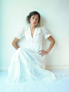 70's Vintage White Gauze Boho Maxi Dress / Lace by viralthreads, $138.00