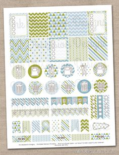 Blue and Olive Planner Stickers Set Instant Download DIY Printable PDF with Checklists Weekend Banners
