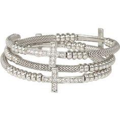 Heirloom Finds Crystal Sideways Cross Coil Wrap Bracelet of Silver Tone Mesh  http://electmejewellery.com/jewelry/bracelets/wrap/heirloom-finds-crystal-sideways-cross-coil-wrap-bracelet-of-silver-tone-mesh-com/
