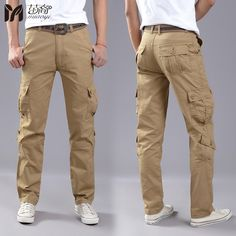 2017 Hot Sell New Men's Cargo Pants army green Khaki pockets decoration mens Casual trousers easy wash male Spring Cotton pants