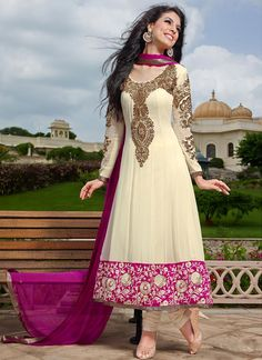$165 Alluring Cream Ankle Length Kalidar Suit