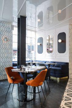 Hotel Panache Restaurant Le Panache Velvet Banquette Paris Design Hotel Dorothée Meilichzon: herringbone dark wood