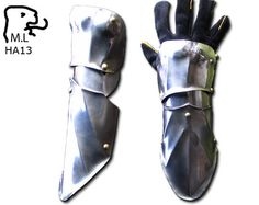 I like the look of the half gauntlet, plus it would be easier to make.  New pair of half gauntlet Medieval Warrior steel Armor Larp Ren Faire ha13