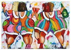 Kleurrijke dikke dames