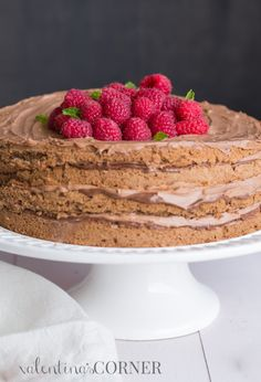 Easy chocolate sponge layers with a Nutella cream. Great for parties!