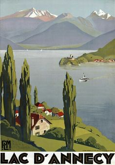 Vintage Lake Annecy French Travel Poster.