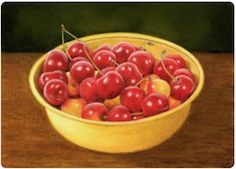 bowl of cherries pastel pencil painting