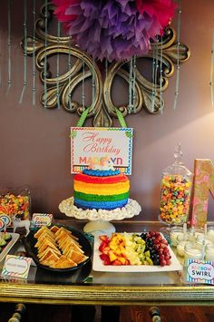 Unicorn rainbow birthday party - Awesome and cute ideas! Minus the unicorn! This is how my birthday is going to look like! Rainbow Birthday Party, 3rd Birthday Parties, Unicorn Birthday Parties, Birthday Fun, Birthday Streamers, Birthday Ideas, Party Streamers, Rainbow Parties, Rainbow Unicorn Party