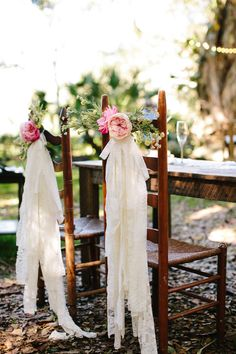 Wedding chairs - Flamingo Gardens Wedding captured by Becca Borge - via ruffled (Florist: Bride and Friend)