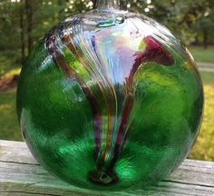 Kitras Hand Blown Art Glass Oil Lamp ~ Watercolor Sea w/ Box
