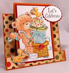 Popcorn Bear by Crafters Companion  Colored with Spectrum Noir Markers  #fancy folds,, #Center step card