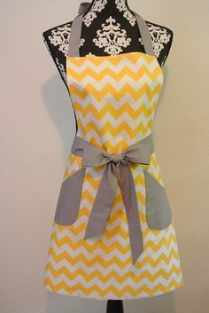 Yellow Chevron with Gray Trim Retro Adult Apron - I like this, but I'd need to put the bow in the back.