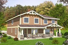 Bungalow Cottage Country Craftsman Multi-Family Plan 85214