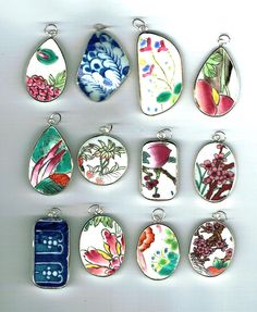 Lot of 12 Wholesale Pottery Ming Chinese Shard Pendants Lot E3 - pinned by pin4etsy.com