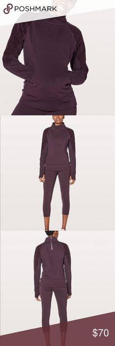 NWT Lululemon Floral Flock Pullover, Black Cherry Lululemon Floral Flock Pullover  Color: Black Cherry Material: 70% Cotton / 30% Polyester  PRODUCT DESCRIPTION: You'll stay cozy and comfortable in this warm, lightweight pullover. A velvety floral flocking detailing adds a feminine touch, and putting it on is easy thanks to the zip in the back.  Condition - Brand NEW with tags. lululemon athletica Sweaters Cowl & Turtlenecks