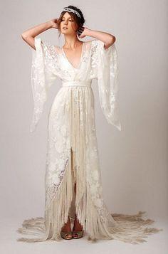 I love this Boho Wedding Dress. Elegant goddess bohemian inspiration.
