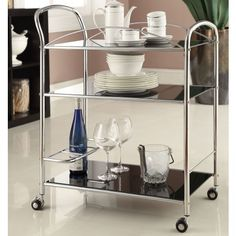 Mack Serving Cart in Chrome - bar cart for dining room (and then i need a crafty way to hide the wireless router in there)