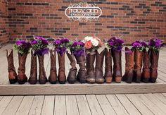 The wedding Party boots and flowers. LOVE
