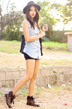 black Bottega Veneta bag - brown Palladium boots - black G by Guess shorts