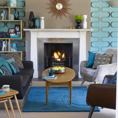Retro living room | Living room design | Decorating ideas | housetohome.co.uk. Perfect furniture placement and bookshelf beside fireplace would work in our living room.