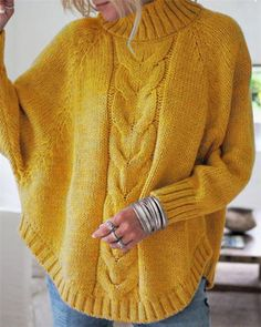 High Neck Dolman Sleeve Sweater trendiest dresses for any occasions, including wedding gowns, special event dresses, accessories and women clothing. Casual Sweaters, Blue Sweaters, Pullover Sweaters, Sweaters For Women, Loose Sweater, Long Sleeve Sweater, Bat Sleeve, Yellow Fashion, Yellow Sweater