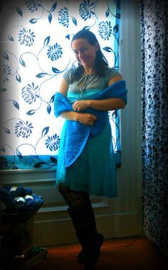 blue/grey crochet shawl with a blue dress and grey undershirt