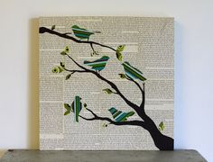 Birds on Branch Art Green and Blue Birds in by FiddleheadsForFiona, $84.00