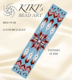 Bead loom pattern Red star LOOM bracelet pattern in PDF Loom Bracelet Patterns, Seed Bead Patterns, Bead Loom Bracelets, Peyote Patterns, Jewelry Patterns, Beading Patterns, Beaded Hat Bands, Native Beadwork, Tear